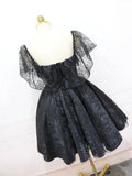 2019 A-Line Off Shoulder Cheap Black Lace Homecoming Dresses ,Affordable Homecoming Dresses,VPBD024