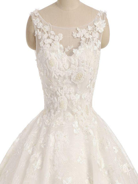 Gorgeous White Appliqued Lace Wedding Dresses With Appliques,Fabulous Scoop Neckline  Long Bridal Gowns With Sleeveless,VPWD148