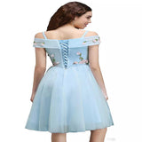 2019 A-Line Sweetheart Light Blue Short Homecoming Dresses With Hand Made Flower,Custom Made Homecoming Dresses,VPBD241