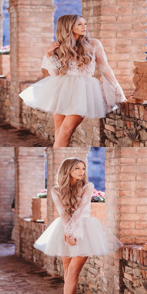 Sexy See Through Ivory Short Homecoming Dresses With Long Sleeves,Beautiful Lace Scoop Neckline Homecoming Dresses Online,VPBD246