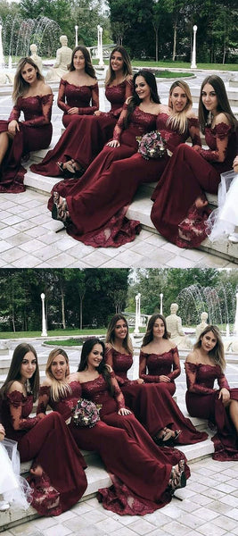 Off Shoulder Burgundy Chiffon Long Bridesmaid Dresses With Long Sleeves,VPWG247