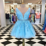 Gorgeous A-Line Blue Two Straps Short Homecoming Dresses With Appliques,Sexy Deep V-Neck Homecoming Dresses,VPBD249