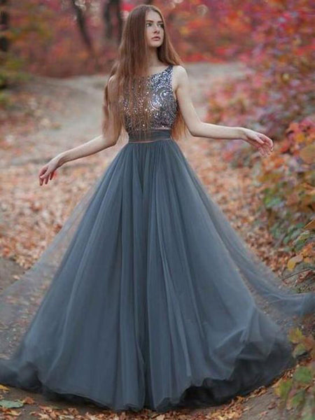 New Exquisite A-line Scoop-Neck Floor-Length Tulle Gray Prom Dresses Online,Custom Made Prom Dresses,VPPD024