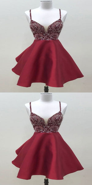 Sexy A-Line Burgundy Deep V-Neck Spaghetti Straps Homecoming Dresses With Beading,VPBD252