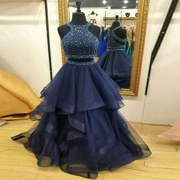 Glamorous A-Line Navy Blue Two Pieces Organza Halter Prom Dresses,VPPD252