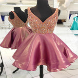 Alluring A-Line Straps Deep V-Neck Organza Homecoming Dresses With Beading,VPBD253