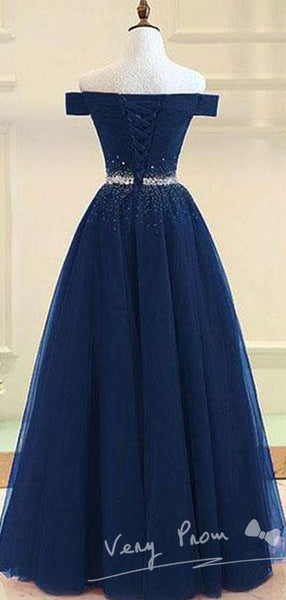 A-Line Navy Blue Off Shoulder Tulle Beaded Long Prom Dresses,VPPD254