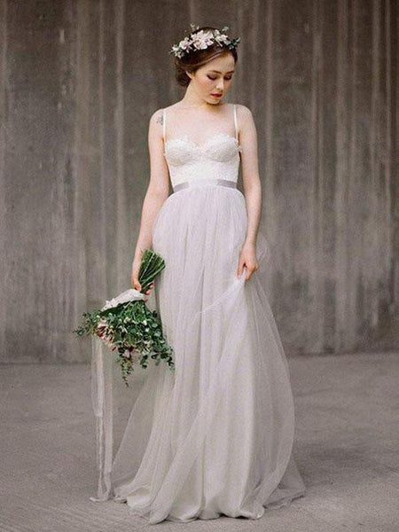 Simple A-Line Spaghetti Straps Illusion Tulle Long Wedding Dresses,VPWD255