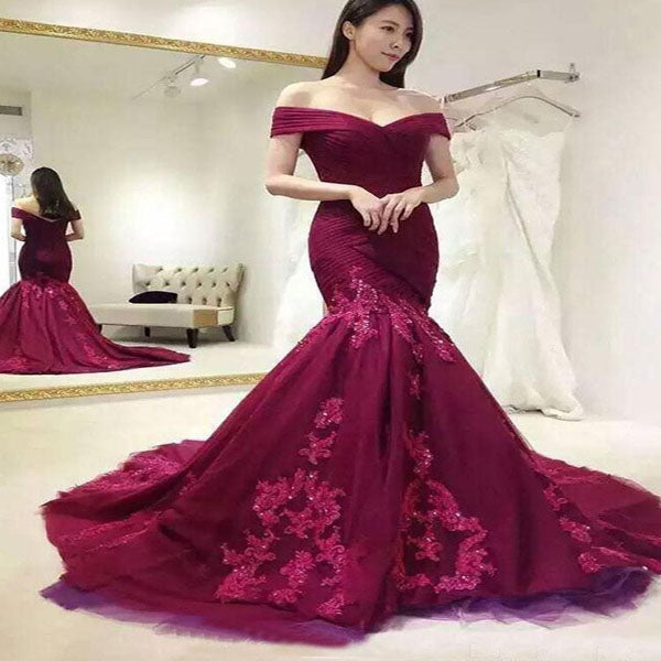 Sexy Mermaid Burgundy Lace Off Shoulder Appliqued Long Prom Dresses,VPPD258