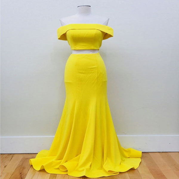 Long Mermaid Off Shoulder Yellow Satin Prom Dresses Online,VPPD259
