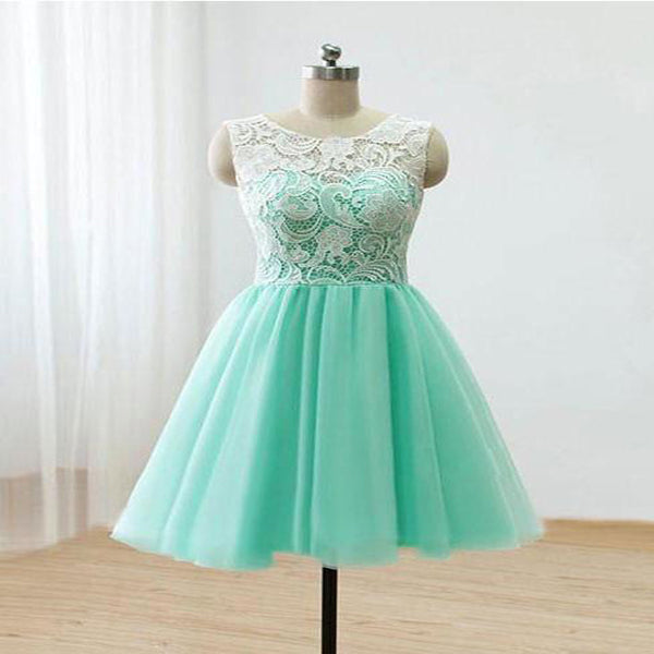 Sexy See Through A-Line Scoop Neckline Cyan Tulle Sleeveless Homecoming Dresses,VPBD260
