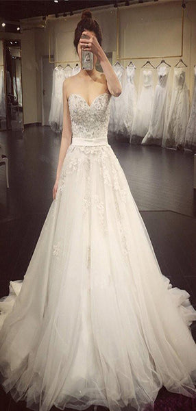 A-Line Sweetheart Lace Sleeveless Long Wedding Dresses,VPWD261