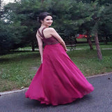 A-Line Burgundy Chiffon Beaded Long Prom Dresses With Halter,VPPD262