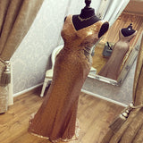 Mermaid V-Neck Sequins Sleeveless Long Prom Dresses Online,VPPD263