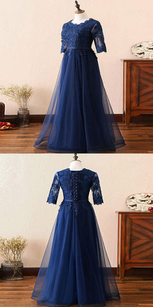 A-Line Navy Blue Half Sleeves Lace Appliqued Long Prom Dresses,VPPD265