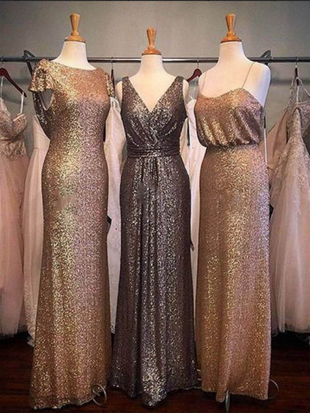 Mismatched Shinny Sequined Long Bridesmaid Dresses,VPWG266