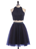 A-Line Two Pieces Navy Blue Tulle Homecoming Dresses Online,VPBD268