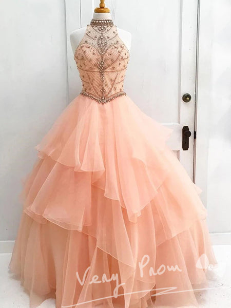 A-Line High Neck Pearl Pink Long Prom Dresses With Beading,Affordable Prom Dresses,VPPD012