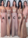 New Sparkly Mismatched Sequin Long Bridesmaid Dresses, Cheap Rose Gold Custom Long Bridesmaid Dresses, Affordable Bridesmaid Gowns,VPWG026