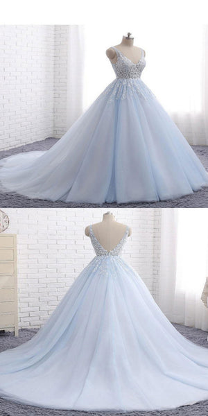 A-Line V-Neck Tulle Long Prom Dresses With Sleeveless,VPPD272