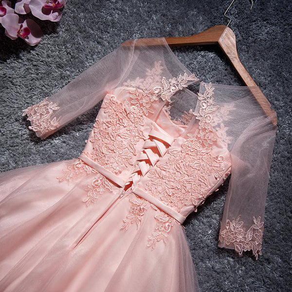 Cute Pink Tulle Scoop Neckline Half Sleeves Homecoming Dresses With Appliques,VPBD275