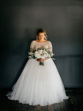 Beautiful Scoop Neckline Half Sleeves Rhinestone Tulle Long Wedding Dresses,VPWD278