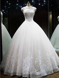 Alluring Cap Sleeves Ball Gown Long Organza Wedding Dresses With Beading,VPWD027