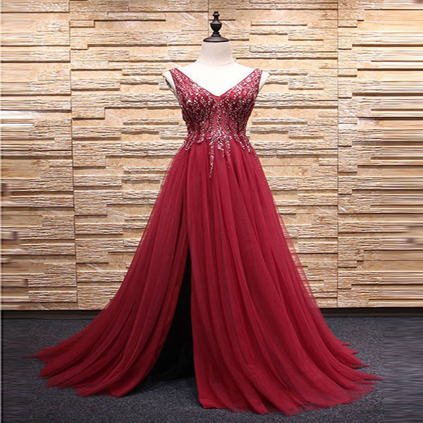 A-Line V-Neck Burgundy Tulle Beaded Tulle Sleeveless Long Prom Dresses,VPPD280