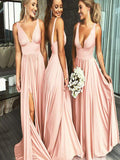 Sexy Deep V-Neck Sleeveless Blush Pink Long Bridesmaid Dresses,VPWG281