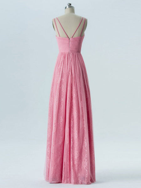 A-Line V-Neck Lace Sleeveless Cheap Long Bridesmaid Dresses,VPWG282