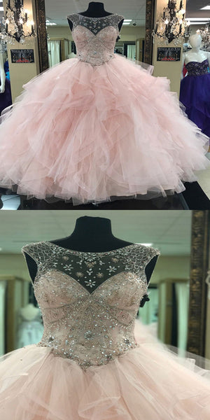 Pretty Scoop Neckline Light Pink Sleeveless Tulle Beaded Prom Dresses,VPPD283