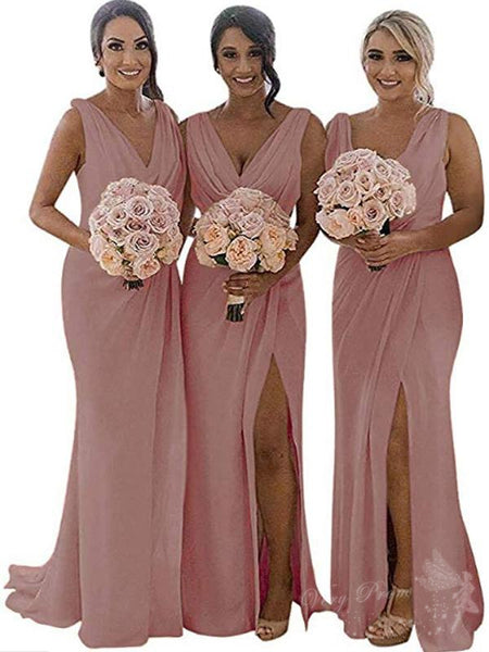 A-Line Chiffon V-Neck Sleeveless Long Bridesmaid Dresses,VPWG284