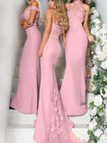 Fabulous Mismatched Mermaid Satin Long Bridesmaid Dresses With Appliques,VPWG285