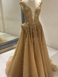 A-Line Tulle Sleeveless V-Neck Gold Long Prom Dresses With Sequins,VPPD287
