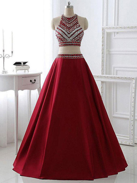 A-Line Two Pieces Halter Satin Burgundy Long Prom Dresses,VPPD288