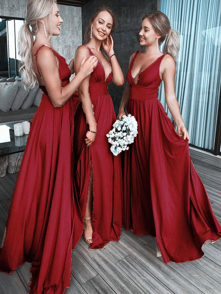 Sexy V-Neck Sleeveless Red Long Bridesmaid Dresses,VPWG288