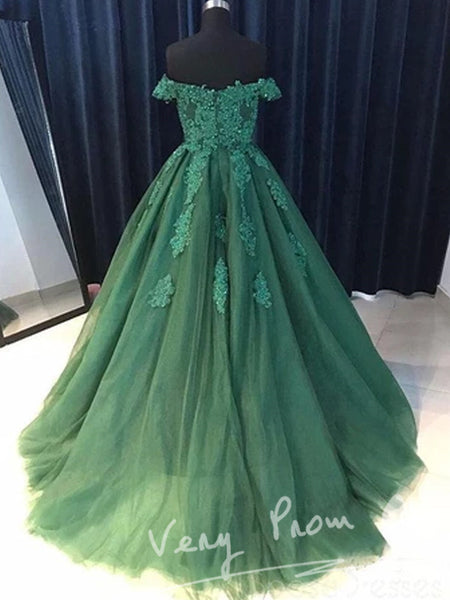 Beautiful Emerald Green Off The Shoulder Custom Long Evening Prom Dresses,VPPD028