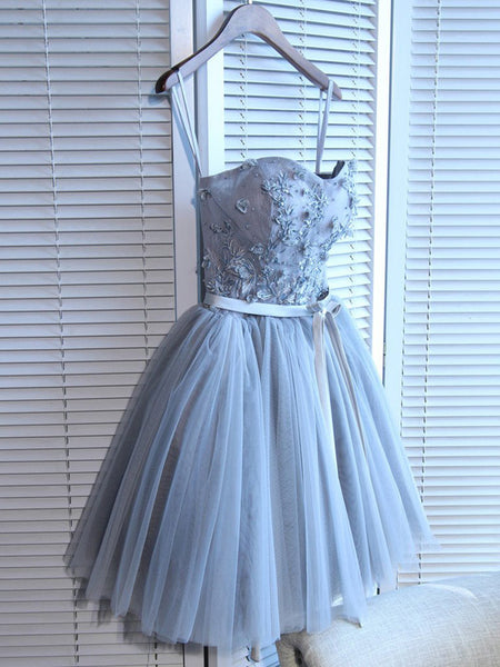 A-Line Spaghetti Straps Tulle Sweetheart Homecoming Dresses Online,VPBD291