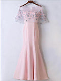 Mermaid Scoop Neckline Pink Cap Sleeves Long Prom Dresses,VPPD293