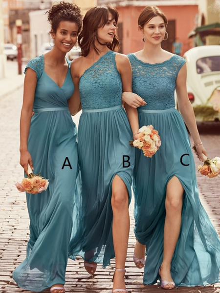 b0658f627365 New Mismatched Pale Blue Chiffon Long Bridesmaid Dresses With Lace,VPWG293