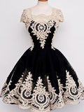 A-Line Square Neckline Cap Sleeves Black Satin Homecoming Dresses,VPBD297