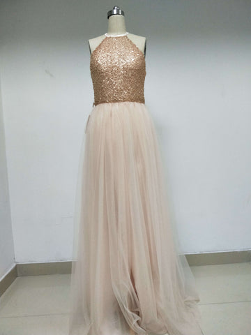 Discount Short In Size Cheap Halter Sequined Tulle Prom Dresses,VPDD006