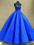 2019 A-Line Royal Blue Spaghetti Straps Satin Long Prom Dresses,VPPD300