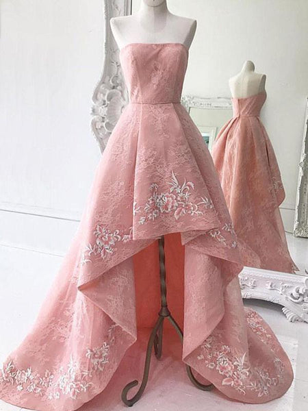 A-Line Strapless Pink High Low Lace Long Prom Dresses With Appliques,VPPD301