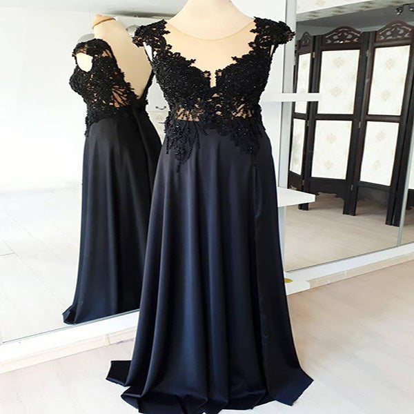 See Through A-Line Black Satin Cap Sleeves Round Neck Prom Dresses,VPPD303