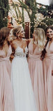 Pretty Mismatched Pink Satin Long Bridesmaid Dresses,VPWG307