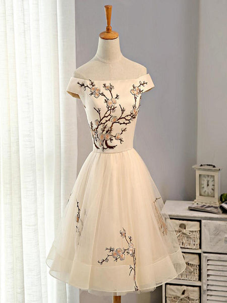 Pretty Off Shoulder Straight Neckline Embroidery Tulle Short Homecoming Dresses, Affordable Short Homecoming Dresses,VPBD031