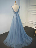 2019 Prevalent V-Neck Tulle Blue Lace Prom Dresses With Appliques,VPPD031
