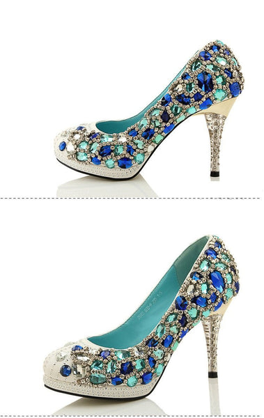 Four Colors Handmade Rhinestone High Heels Pointed Toe Crystal Wedding Shoes, S028