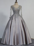 A-Line Scoop Neckline Half Sleeves Beaded Silver Satin Prom Dresses,VPPD310